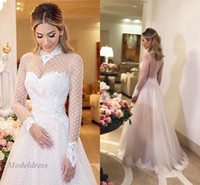 Wholesale net sleeves wedding dress for sale - Group buy See Through High Neck Wedding Dresses with Long Sleeves Dot Net Unique Design Lace A Line Sheer Neck and Back Floor Length Bridal