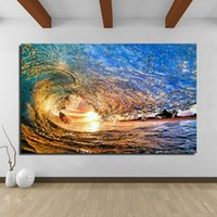 Wholesale oil paintings cartoons for sale - Group buy Oil Painting Wall Painting Beach Waves Picture Paintings On Canvas Living Room Modern No Frame