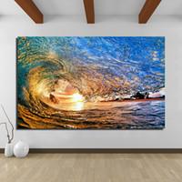modern yağlı boya tablaları toptan satış-Yağlıboya Duvar Boyama Plaj Dalgaları Resim Sergisi Tuval Üzerine Oturma Odası, Modern Hiçbir Çerçeve