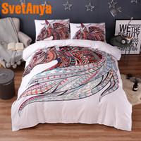 постельное белье для лошадей оптовых-Svetanya Pillowcase+Duvet Cover Bed Linens Horse Head Print Bedding Set (no Sheet) Single Full Queen King Size white color