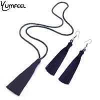 граненые ожерелья из бисера оптовых-Yumfeel New Tassel Necklaces Earrings Jewelry Set Long Faceted Glass  Crystal Necklace Tassel Earrings Set Women Gifts