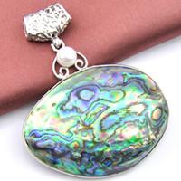 inci inci kolye toptan satış-Yeni Luckyshine 2 Adet / grup 925 Ayar Gümüş Doğal Inci Abalone Shell Taş el yapımı Moda Kolye Kolye Takı p0965