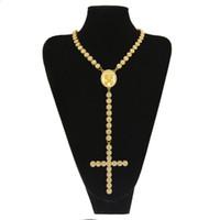 18k rosenkette großhandel-Männer Frauen Gold Farbe Katholische Religiöse Jesus Kreuz Rosenkranz Halskette Schmuck 1 Reihe Iced Out Strass Hip Hop Cluster Kette # HP55