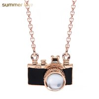 Wholesale camera chain jewelry online - Unique Design Drop Oil Camera Pendant Gold Chain Necklace for Women Made With Love Cute Necklace with Gift Card Trendy Jewelry Gift