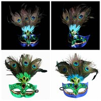 örümcek maskeleri tavuskuşu tüyleri toptan satış-Peacock Feather Maske Kadınlar Tavuskuşu Masquerade Maske Venedik Faux Elmas Dans Parti Maskeleri cadılar bayramı yarım yüz maskeleri AAA1262