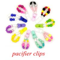 Wholesale Dummy Holder Clips - Baby Pacifier Clip Chain Beads Holder Chain Toy Baby Soother Toy Silicone Beads Appease Soother Dummy Chain Teether Holder 10styles FFA059