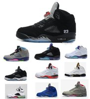 Wholesale White Suede Shoes For Men - 2018Retro 5 V Hornets White Cement 3M Camo Blue Suede Red Suede mens Basketball Shoes Black Metallilic Sports Sneakers running shoes for men