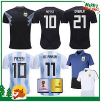 Wholesale National Jerseys - 2018 World Cup Argentina away Jersey Argentina MESSI DYBALA DI MARIA AGUERO HIGUAIN soccer shirt home national team POLO Football jersey