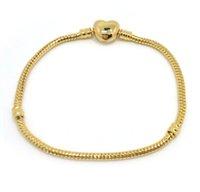 ingrosso fascino europeo di alta qualità-Braccialetto 100% 24k placcato oro di alta qualità a forma di serpente a forma di cuore braccialetto chiusura moda fascini europei braccialetto fai da te
