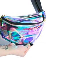 Wholesale Iphone Beach - Hologram Laser Waist PVC Transparent Waterproof Waist Bag Beach Pack Fanny Pack Zipper Bum Bag Case Opp