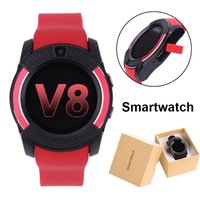 Wholesale Iphone Watches For Men - V8 Bluetooth 3.0 Smartwatches With IPS Round Screen USB Charger Passometer Men All Aged Smart watch For Android Apple IPhone Smartwatch