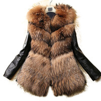 suni deri 3xl toptan satış-2017 Kış Yeni Faux Kürk Ceket Kadın Ince Uzun Palto Kabanlar Womens PU Deri Kürk Palto Kabarık Palto S-3XL