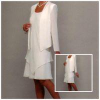 graue taftjacke großhandel-Neuen Stil mit langer Jacke Chiffon Mutter Bräutigam weiß scharf Länge Mutter der Braut Kleid