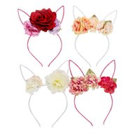 ingrosso i fiori del tessuto adattano agli accessori dei braccialetti dei capelli-Kids Girls Rose Flower Headband Party Wedding Fabric Flower Wreath Capelli orecchie di coniglio Hair Hoop Hair Band Accessori