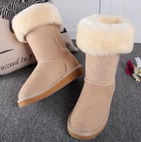 botas us14 venda por atacado-Frete grátis Australia WGG Clássico das Mulheres altas Botas botas de Inverno botas de couro das Mulheres Bota botas de transporte da gota