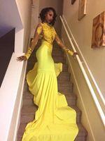 schwarze gelbe perlen großhandel-Gelbe Ballkleider 2019 Elegante Meerjungfrau Afrikanische Abendgesellschaft Kleider Sheer Neck Celebrity Kleider Für Frauen Spitze Perlen Günstige Black Girl