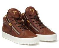белые кожаные кнопки оптовых-2019 Горячие продажи высокий белый натуральная кожа мужчины женщины повседневная обувь, Zanotti металлическая кнопка высокого уровня модная обувь, size35-46