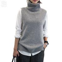 Wholesale angora women - Women's Knitted Angora Cashmere Turtleneck Vest Back Slit Winter Female Wool Swaeter Sleeveless 2018 Spring New Black Grey Vogue
