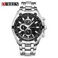 наручные часы купить оптовых-Горячая полная сталь новая мода CURREN мужские часы регулируемый ремешок из нержавеющей стали мужские спортивные кварцевые наручные часы