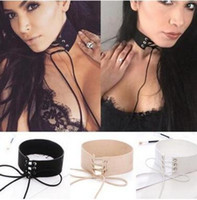 Wholesale gothic leather jewelry - Velvet Tie Up Wide Choker Necklace Gothic Suede Collar Sexy Women Neck Jewelry 90's Black Velvet Choker Necklace Gothic Retro Burlesque 15pc
