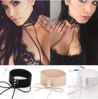 Wholesale wide choker necklaces - Velvet Tie Up Wide Choker Necklace Gothic Suede Collar Sexy Women Neck Jewelry 90's Black Velvet Choker Necklace Gothic Retro Burlesque 15pc
