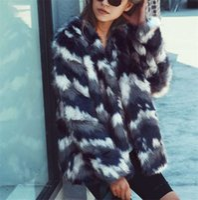 degrade kış ceket toptan satış-A06W033 Kabarık Sıcak kürk ceket kadın kış yeni Degrade mavi kısa palto en kaliteli taklit Tilki Kürk S-3XL
