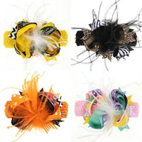 Wholesale orange accessories for baby girl online - Halloween Bow Feather Headband for girl kids children Orange Polka Dots Hairband baby Halloween hair accessories Elasticity headbands