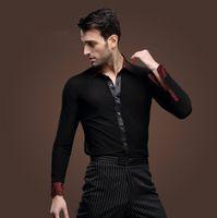 Hombres adultos hombres color negro collar de moda de baile latino trajes  de camisa de baile hombres Salsa Tango Samba camisas desgaste de la danza a088ce203ee