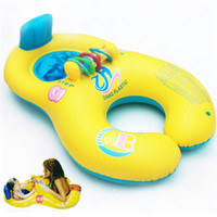 Wholesale swim ring baby double - Color Mix Baby Outdoor Summer Water Pools Mother And Child Swimming Circle Double Swim Rings Lovely Style 17 99hr X