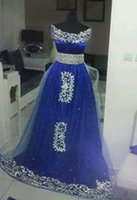 Wholesale rhinestone belt fall for sale - 2018 A Line Evening Dresses with Off Shoulder Sleeveless Floor Length Rhinestones Appliques Kaften Bling Royal Blue Belt Arabic Prom Gowns