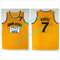 ingrosso pullover giallo di pallacanestro-Mens Toni Kukoc Jersey 7 Jugoplastika Split Moive Pullover di pallacanestro Giallo cucita Spedizione gratuita Taglia S-2XL