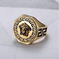 Wholesale Ring Hip - Hip hop Medusa Ring Jewelry 24k Gold Plated Head Finger Rings for men women Size 7,8,9,10,11,12