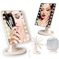 führte kosmetische kompakte spiegel großhandel-Make Up LED Spiegel 360 Grad Rotation Touchscreen Badezimmer Dressing Kosmetik Falten Tragbare Kompakte Tasche Mit 22 LED Licht Makeup Mirr