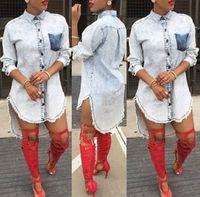 camisa suelta larga para mujer al por mayor-Casual Mujer Denim Jeans Manga larga Blusa suelta Camisa Tops Party Club Mini Vestido corto Clubwear Jeanswear Trajes Ropa