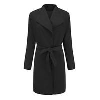 gabardina de calidad de las mujeres al por mayor-2018 nuevas mujeres del invierno cálido marca de lana temperamento capa de encaje de color sólido de alta calidad Trench Parka chaqueta abrigo abrigo Outwear