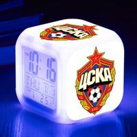 ingrosso team di illuminazione-PFC CSKA Mosca Sveglie a LED Russia Football Team reloj despertador Sveglia digitale Night Touch Illuminazione per lampade