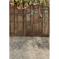 accessoires photographiques en bois achat en gros de-Vintage porte en bois photo toile de fond imprimé fleurs de printemps vert vignes bébé nouveau-né photo shoot accessoires enfants enfants photographie fond