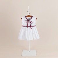 Wholesale Baby White Plaid Dress - dress IN stock Hot selling 3 colors 2018 NEW arrival summer Girls fly Sleeve solid color dress high quality cotton baby kids bowknot dress