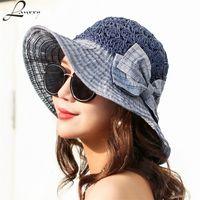 Wholesale ladies bow hats - Lanxxy 2018 New Fashion Straw Patch Summer Hat Women Beach Sun Hats Bow Wide Brim Caps Ladies Headwear