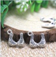 ingrosso ciondoli in reggiseno-35pcs / lot- reggiseno Charms Argento antico tibetano 3D pendenti di fascino reggiseno 14x14mm
