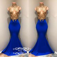 ingrosso abito blu corpetto-Eleganti appliques oro perline Prom Dresses per le donne 2018 Sheer pizzo illusione corsetto Royal Blue abito da sera lungo abito formale