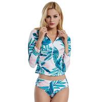 manga de folha venda por atacado-2 pc / set Duas Peças Mulheres Swimwear Set Mangas Compridas swimsuit Plantas Folha Impresso Maiôs Zíper Rash Guardas de Proteção UV