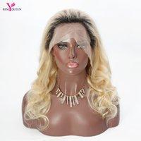 1b des cheveux blancs achat en gros de-Remy Queen Cheveux Humains Vierges Brésiliens Pour Les Femmes Blanches 8 A Ombre Couleur 613 # 1B Lace Front Wig Corps Vague 130% Densité Avec Cheveux De Bébé