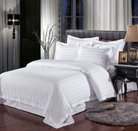 Wholesale comforters for beds for sale - White Streak Hotel bedding sets queen king bed set Solid Color duvet cover bed sheet cotton for Guest Room home textile