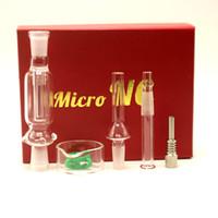 micro dab rig achat en gros de-Micro NC 10mm Verre Pipe Verre Bong Nector Collector Kits Avec Titanium Et Quartz Nail Dabber Dish Dab Rig Bongs DHL