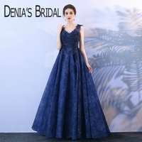 Wholesale Tulle Appliques Beads Handmade Flowers - 2018 A-Line Evening Dresses with Handmade Flowers Sequins Lace Beads Sheer Straps Floor Length Plus Size Navy Prom Gowns XG005