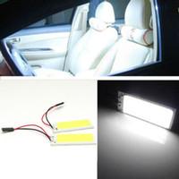 ba9s koçanı açtı toptan satış-2 Adet / grup Beyaz 36 SMD COB Çip LED Panel HID Ampul Araba araç İç Harita Dome Kapı Işık Ile T10 / Festoon / Ba9s Soket DC 12 V