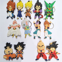 Wholesale one piece figure cartoon resale online - Dragon Ball Key Buckle Action Figure PVC Super Saiyan Son Gokou Vegeta Key Chains Classic Cartoon Pendant Keyring ht WW