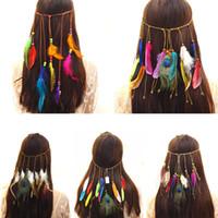 кисточки для женщин оптовых-Fashion Bohemia Colorful Peacock Feather  Tassels Women Headbands Hair Accessories