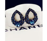 Wholesale Silver Earings Zircon - Fashion Brincos Perlas New Girls Earing Bijoux Blue Zircon Stud Earrings For Women Wedding Jewelry Earings One Direction
